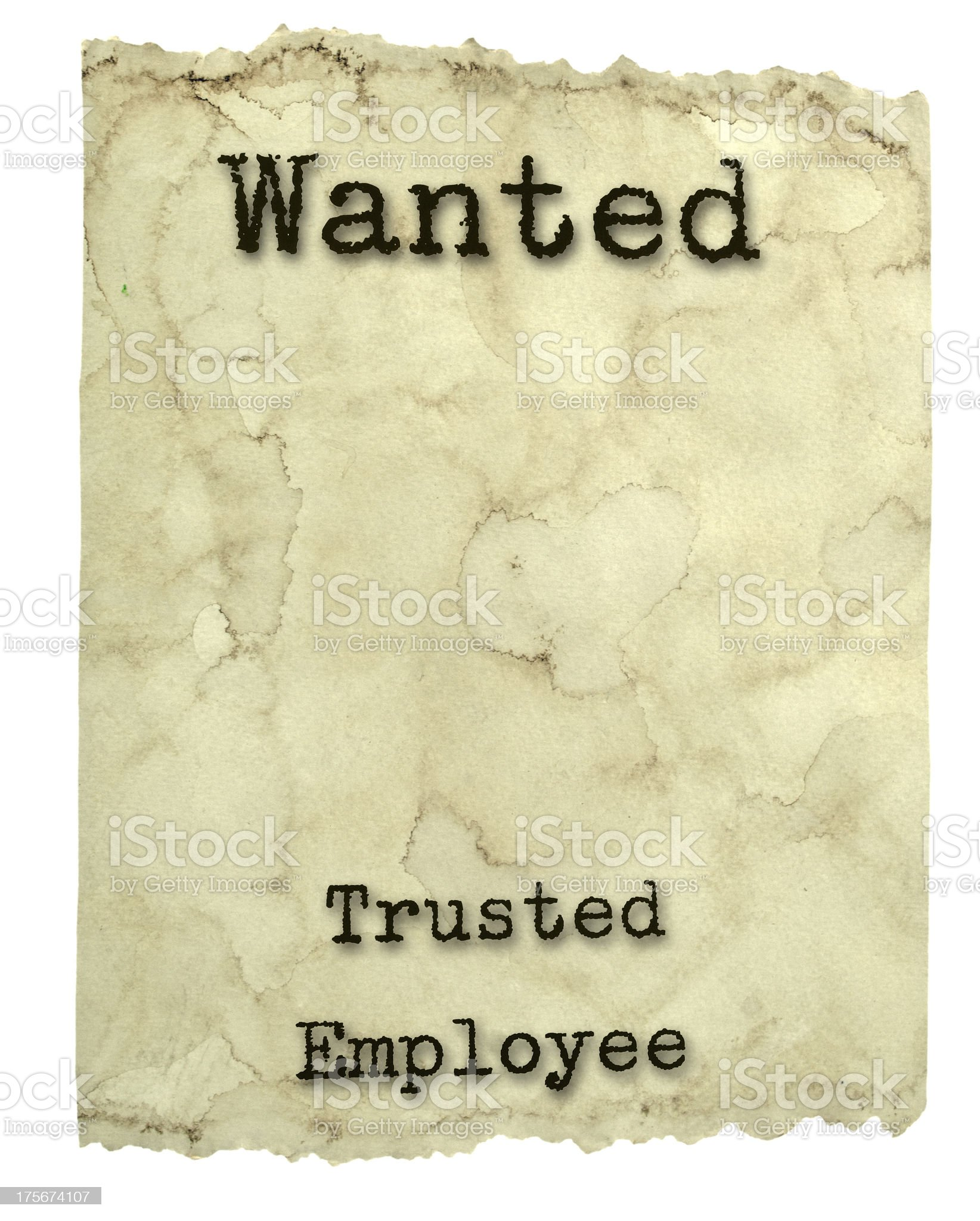 Wanted Poster Employee royalty-free stock photo