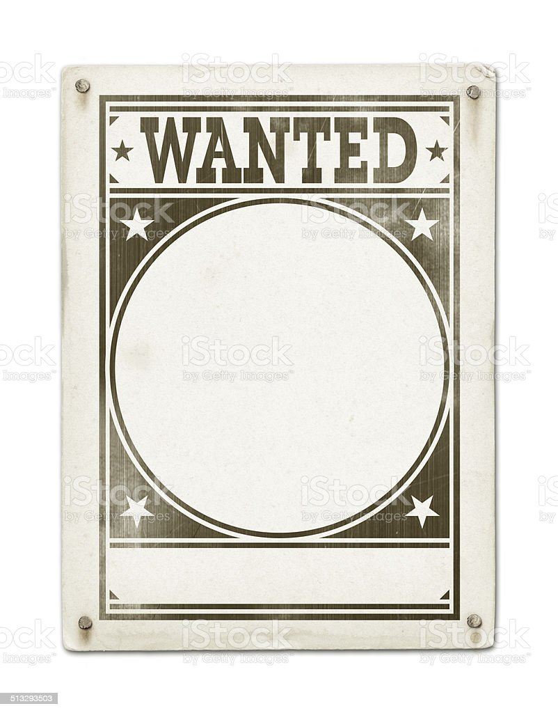 Wanted poster isolated on white stock photo