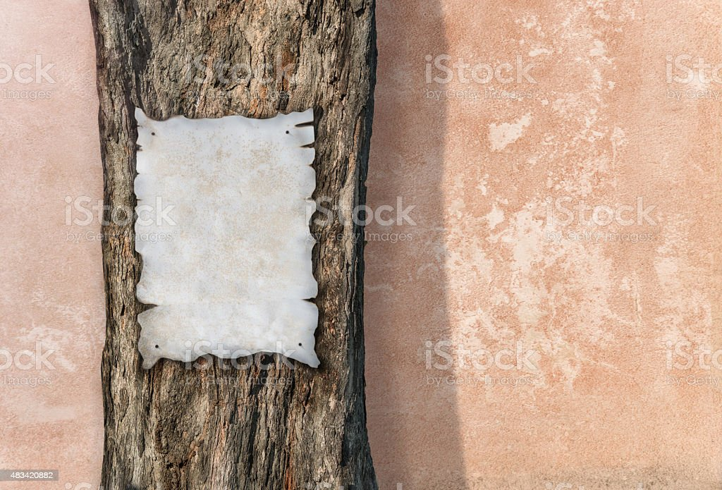 Wanted poster on tree stock photo
