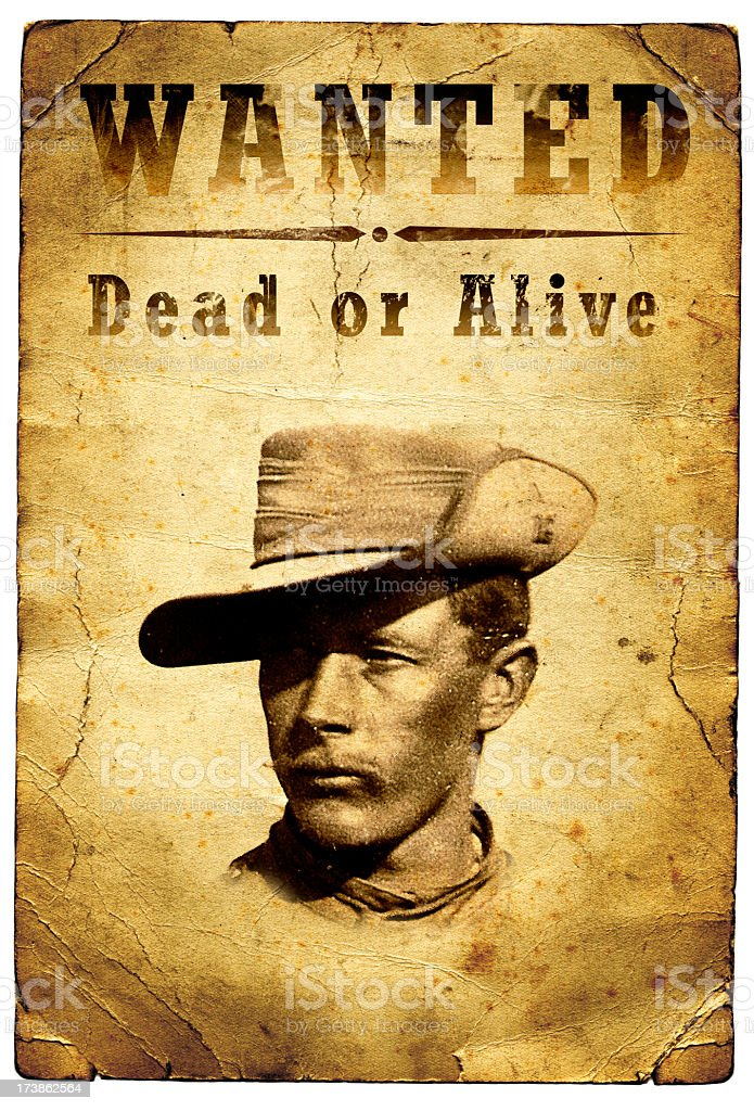 Wanted Poster Wild West Outlaw stock photo
