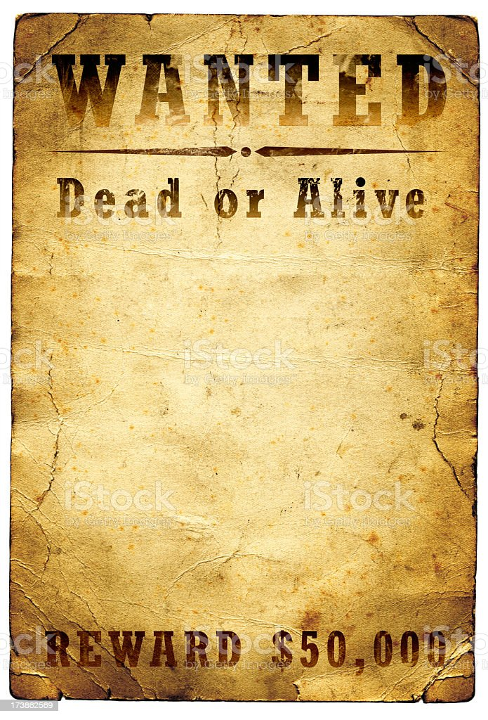 Wanted Poster Wild West stock photo