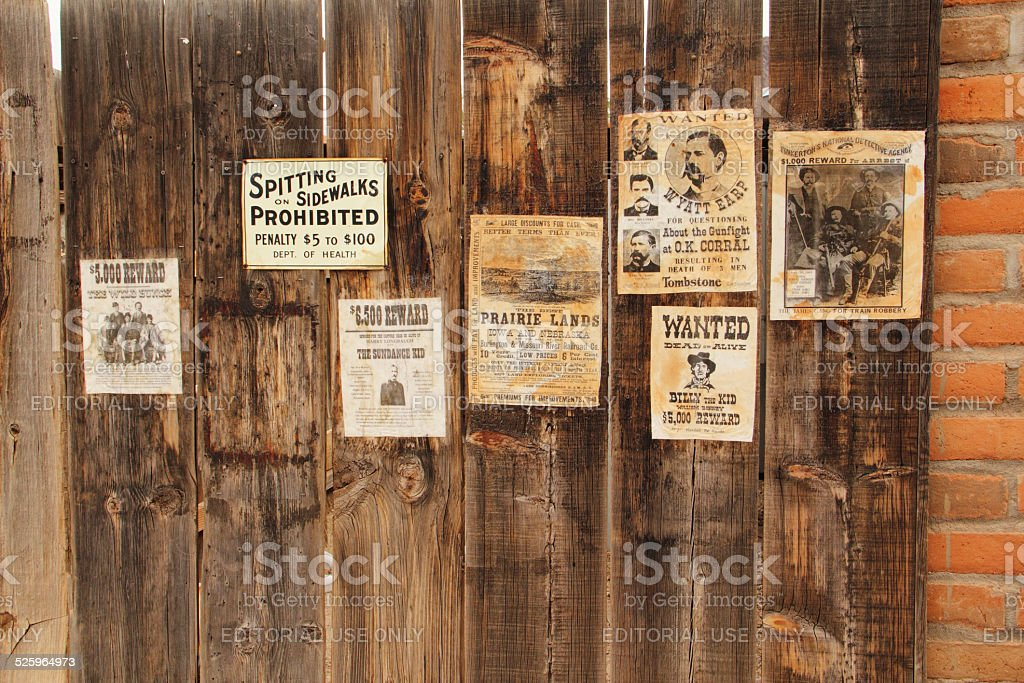 Wanted Posters Western Outlaws stock photo