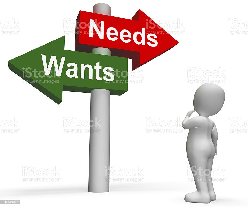 Wants Needs Signpost Shows Materialism Want Need stock photo