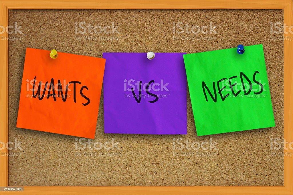 Wants vs Needs stock photo