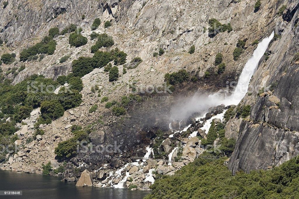Wapama Falls feeds Hetch Hetchy Reservoir stock photo