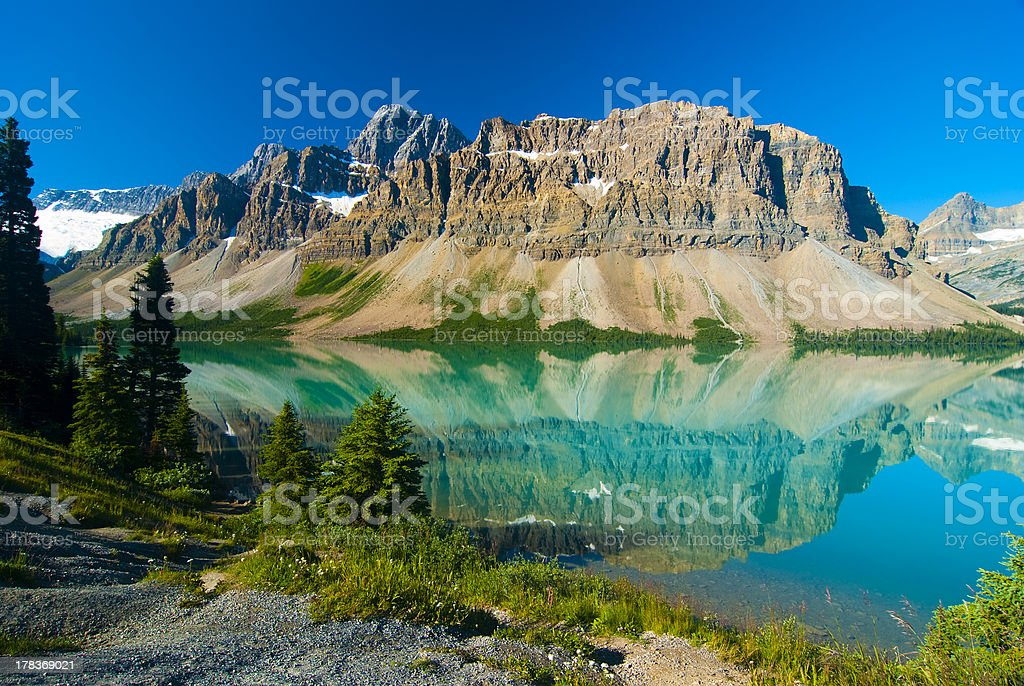 Waputik Range Reflection on Bow Lake, Banff, Canadian Rockies stock photo