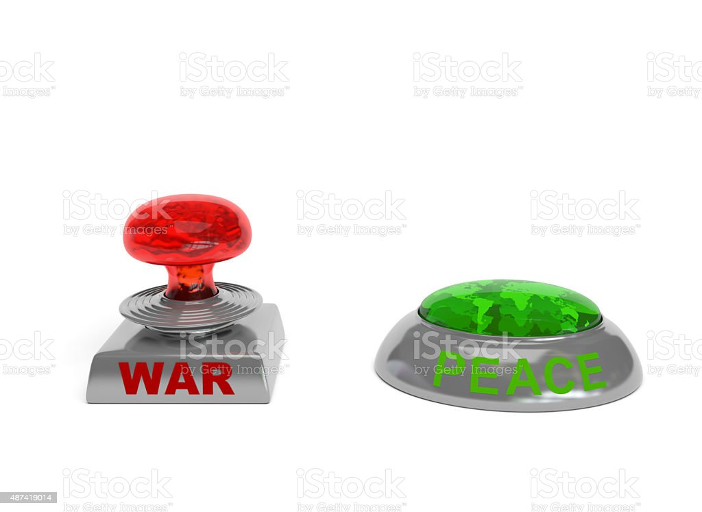 War and peace buttons stock photo