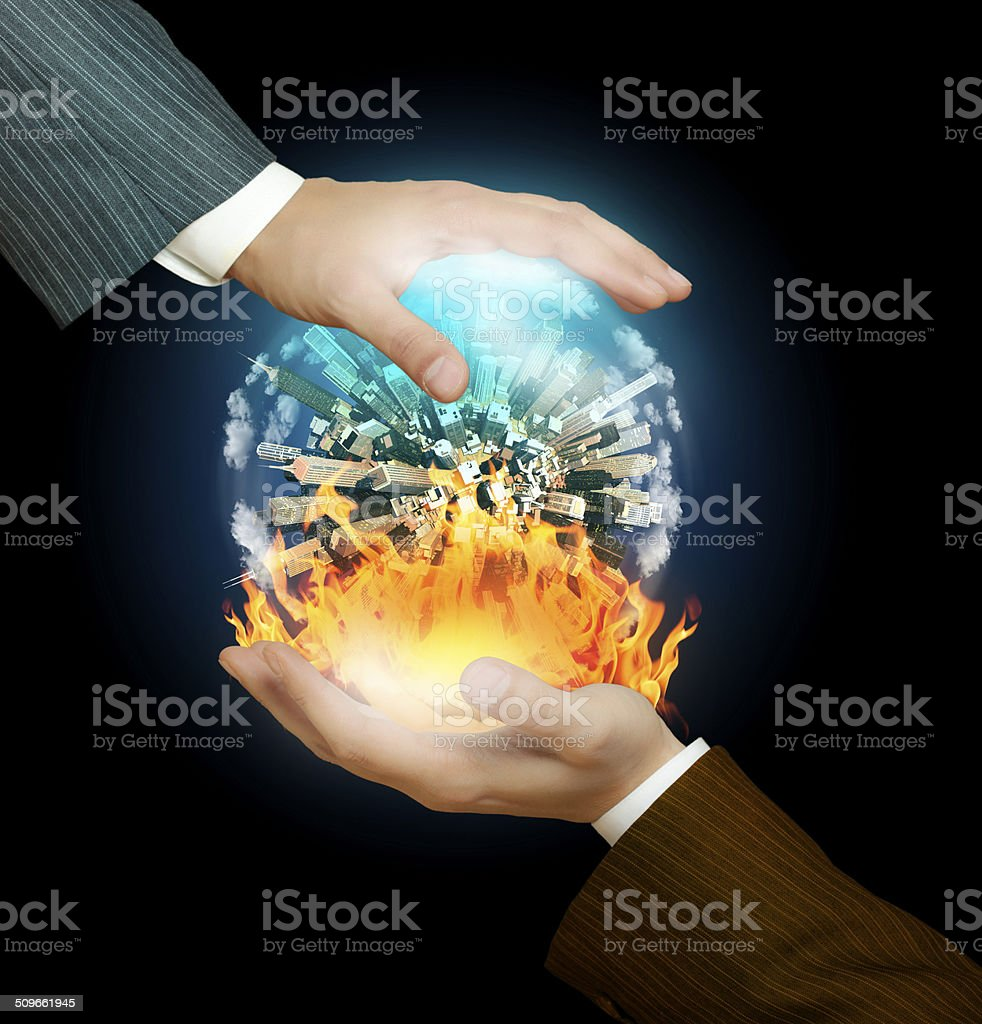 War and peace in the hands of businessmen stock photo