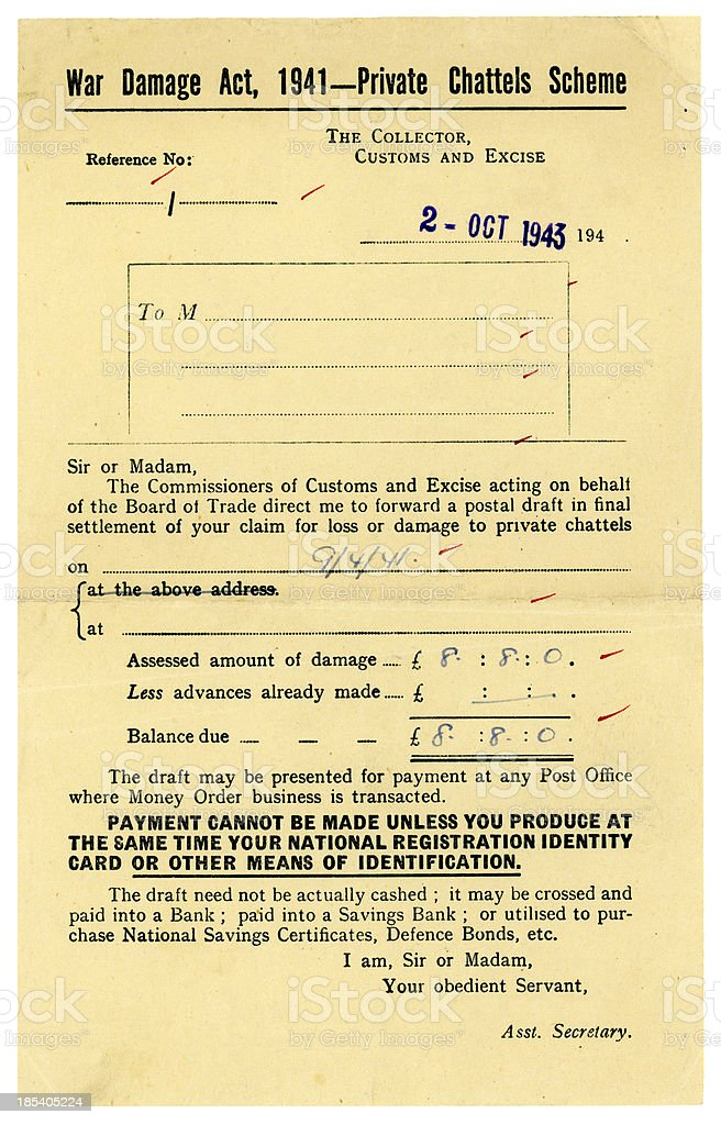 War Damage Act Private Chattels Scheme - form stock photo