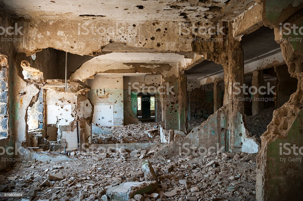 War damaged building in Quneitra, Syria stock photo