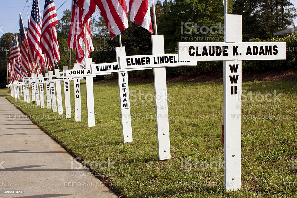 War Dead Honored With Crosses Along Highway For Memorial Day royalty-free stock photo