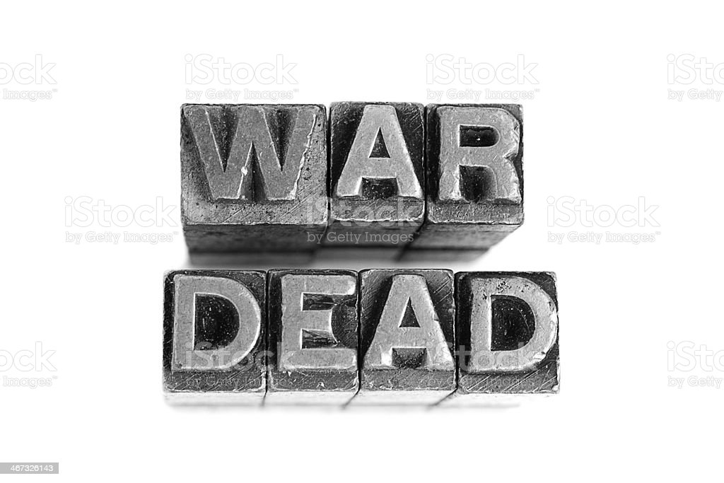 War Dead sign, antique metal letter type royalty-free stock photo