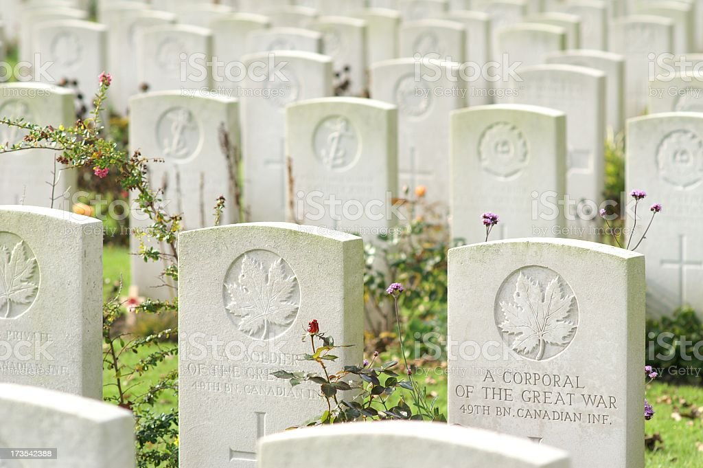 War Graves of Unknown Canadian Soldiers royalty-free stock photo