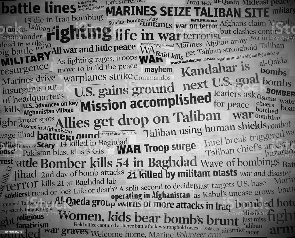 war headlines black and white with vignette royalty-free stock photo
