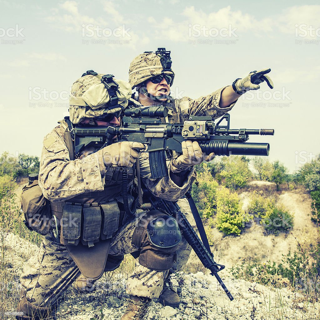 War in mountains stock photo