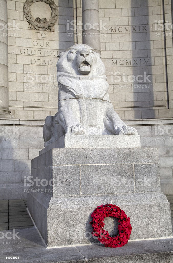 War Memorial, Aberdeen, with Remembrance Day Wreath royalty-free stock photo