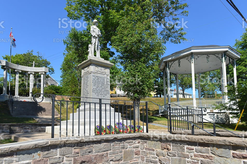 War Memorial and Band Shell in Lunenburg stock photo