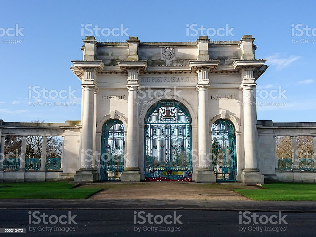 War Memorial Arch on the Embakment, River Trent, Nottingham. stock photo