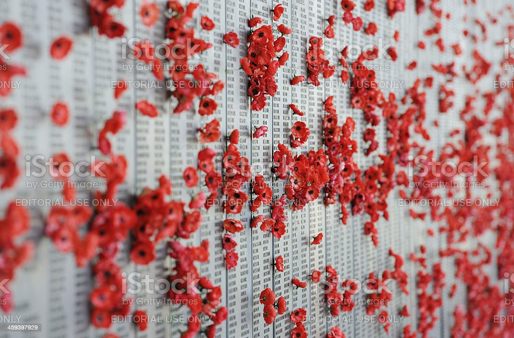 War memorial Australia Canberra poppies stock photo