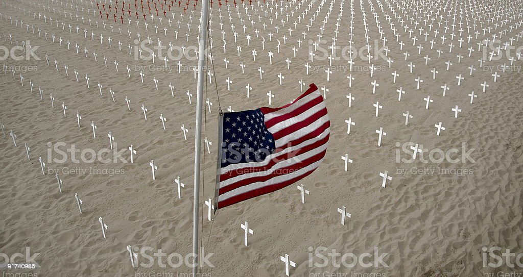 War Memorial on Beach Sand royalty-free stock photo