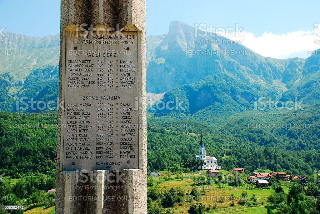 War Memorial Outside Dreznica stock photo