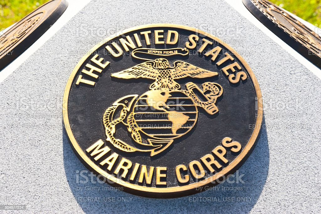 War Memorial Plaque United States Marine Corps stock photo