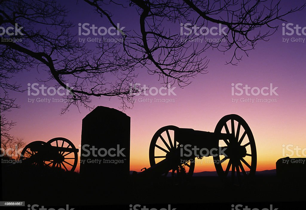 War Memorial Wheeled Cannon Military Civil War Weapon Dusk Sunset stock photo