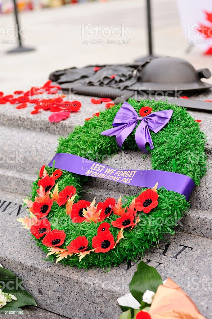 War Memorial Wreath stock photo