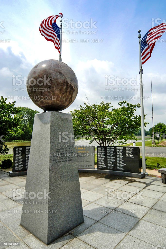War Memorials to those who didn't return to Monroe, Michigan stock photo