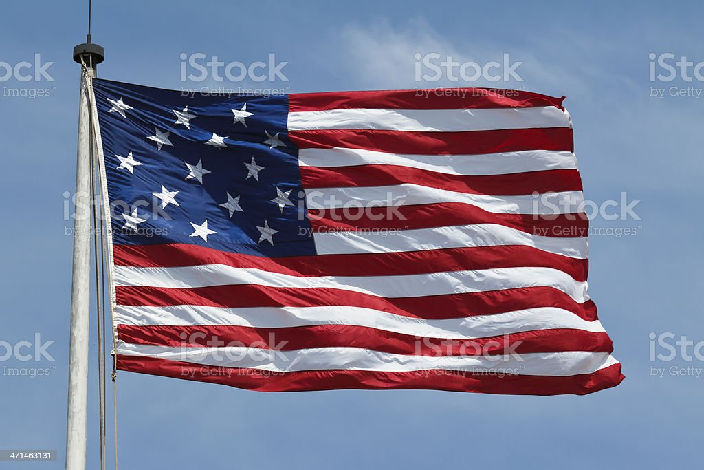 War of 1812 Flag Flying at Fort McHenry Maryland stock photo