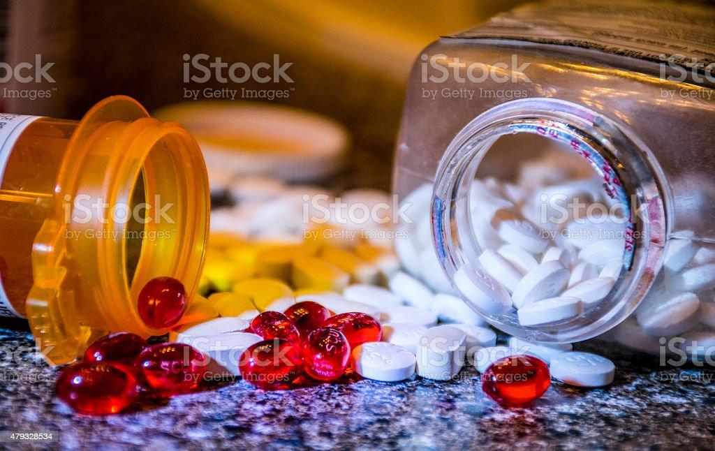 War on drugs pharmaceutical pills tablets gel caps stock photo