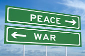 war or peace concept on the road signpost 3D rendering