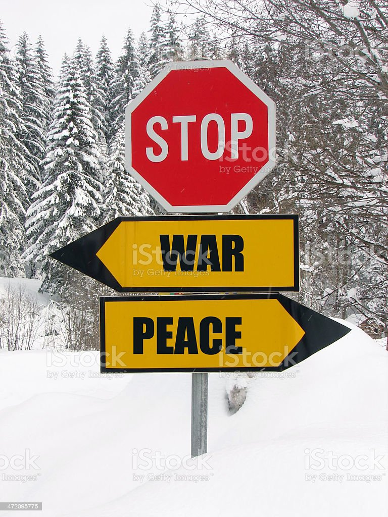 war or peace? question is now! stock photo
