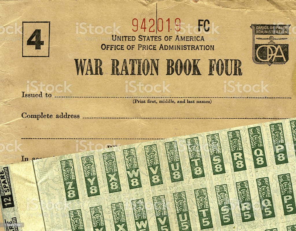 War Ration Book and Stamps stock photo