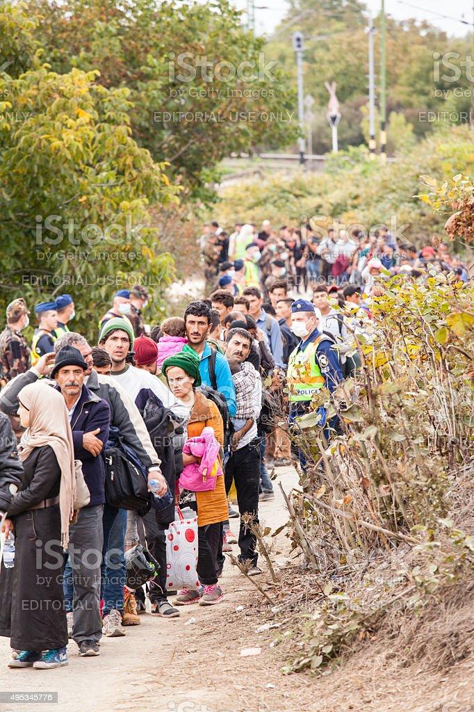 War refugees at the Gyekenyes Railway Station stock photo