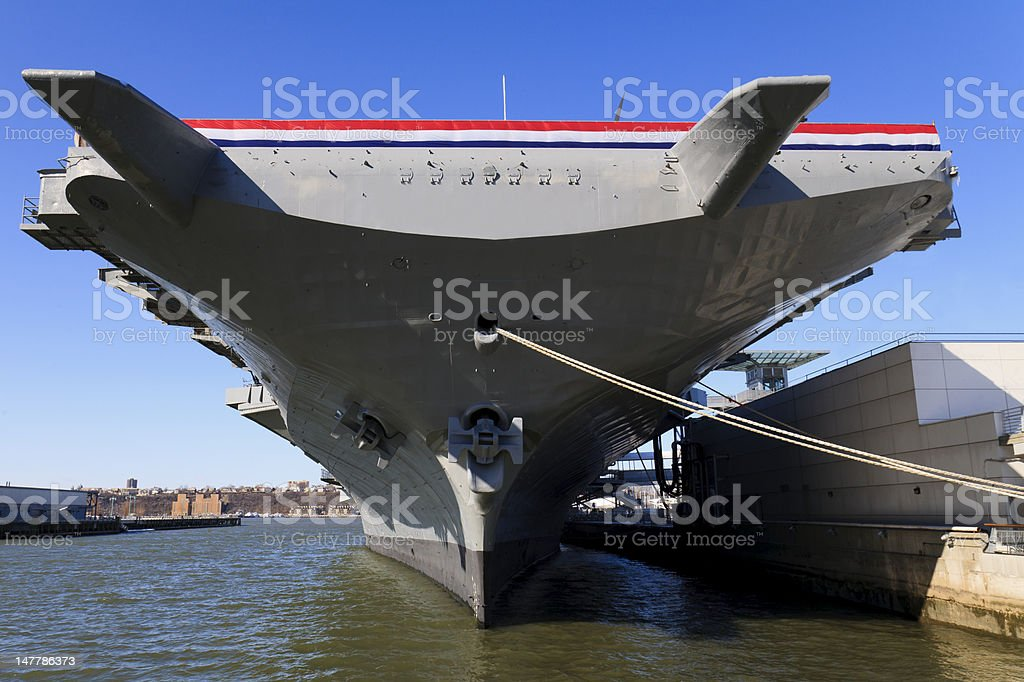 War ship outside Intrepid museum in New York city stock photo