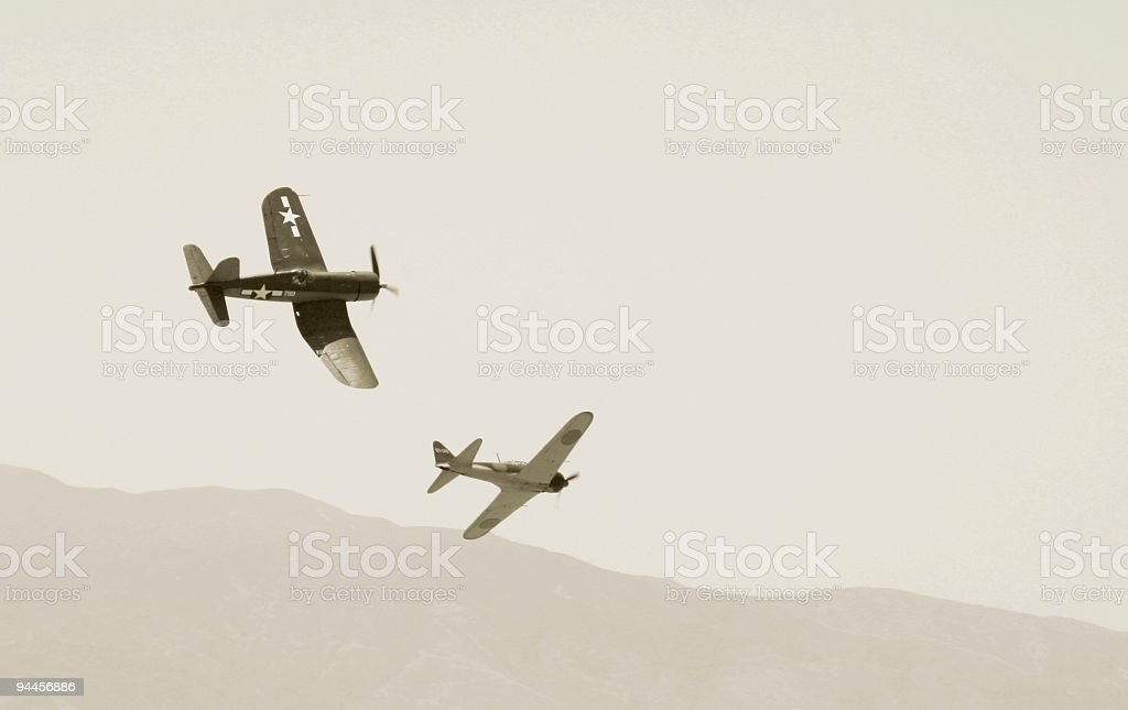 War Stories - A Corsair and Zero Mix it up royalty-free stock photo