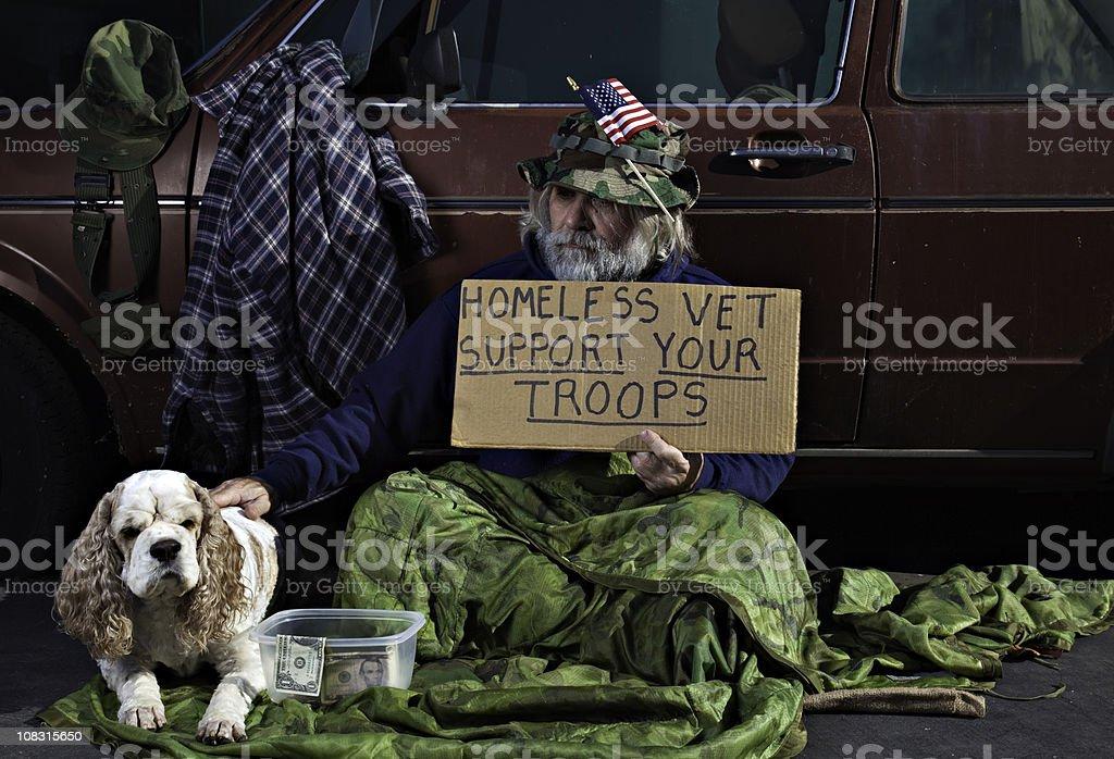 War Veteran and His Dog royalty-free stock photo