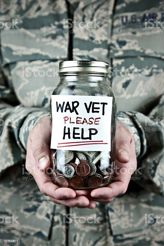 US War Veteran Holding Donation Jar royalty-free stock photo