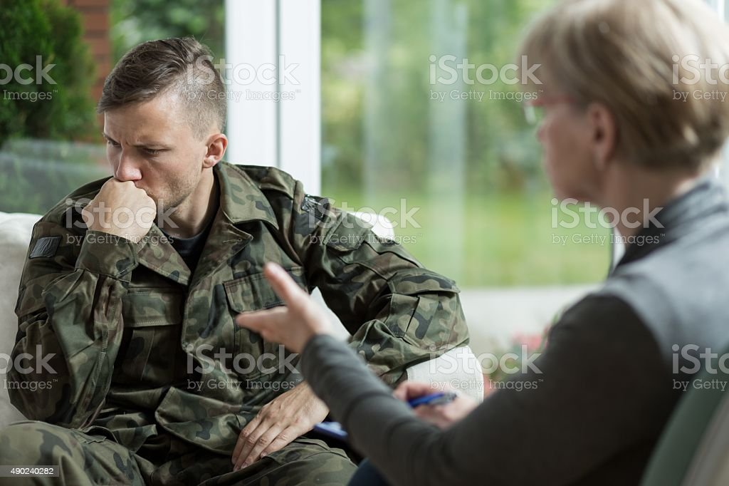War veteran with problems stock photo