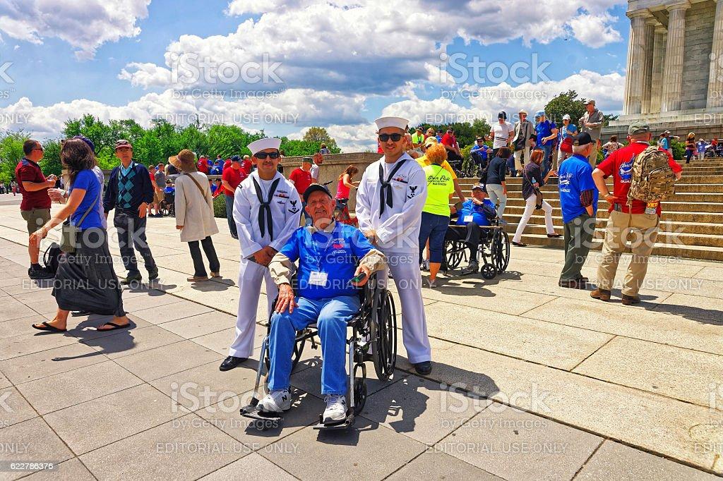 War veterans next to Lincoln Memorial in Washington DC stock photo