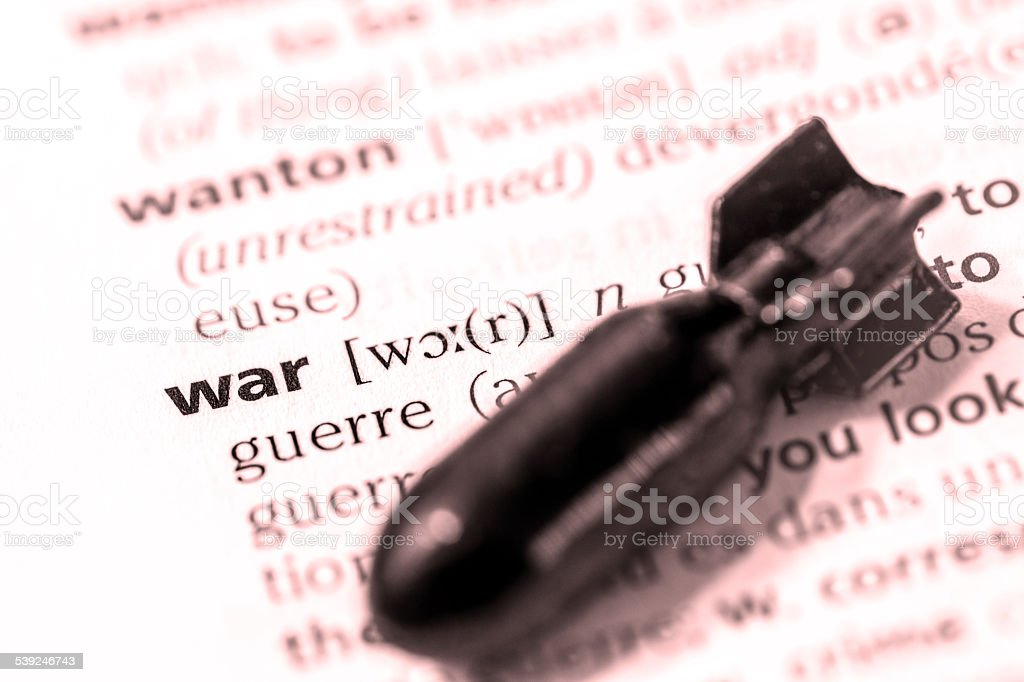 War word definition text with bomb concept stock photo