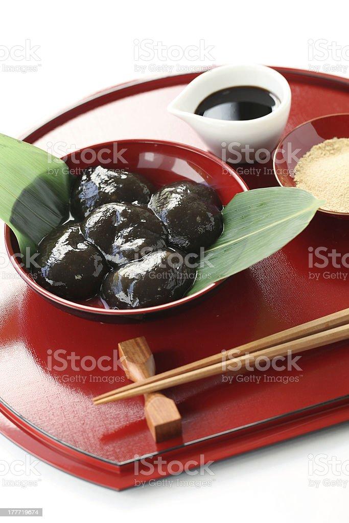 warabimochi, traditonal japanese confectionery stock photo