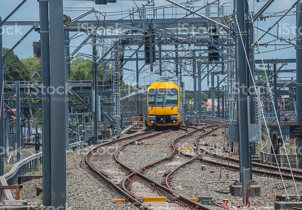 Waratah  train approaches Central Station with a local service. stock photo