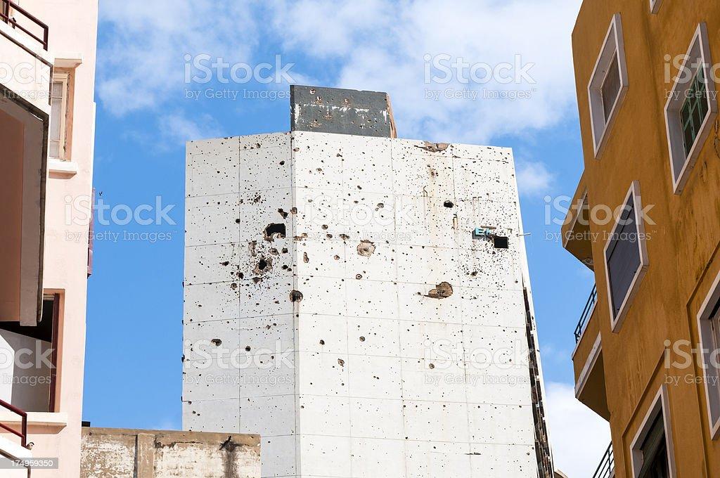 War-damaged Holidy Inn in Beirut, Lebanon royalty-free stock photo
