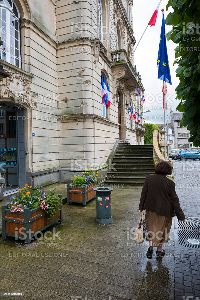 War-damaged town hall in Coutances, Normandy, France stock photo