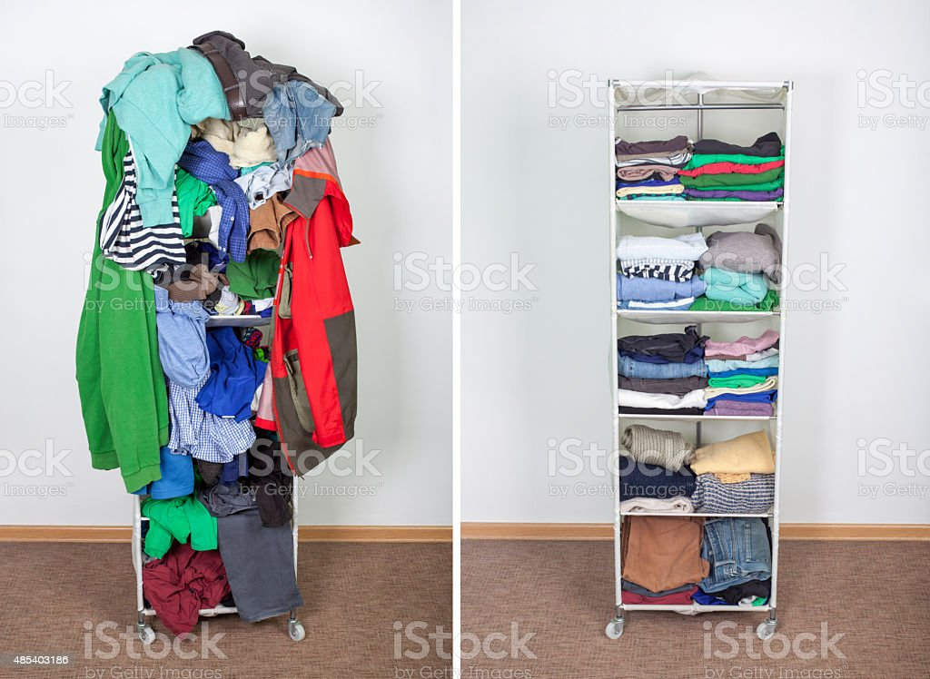 wardrobe before and after stock photo