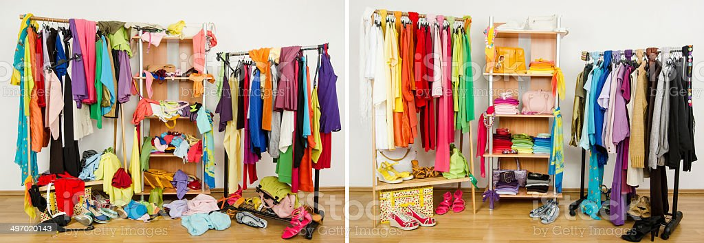 Wardrobe before messy after tidy arranged by colors. stock photo