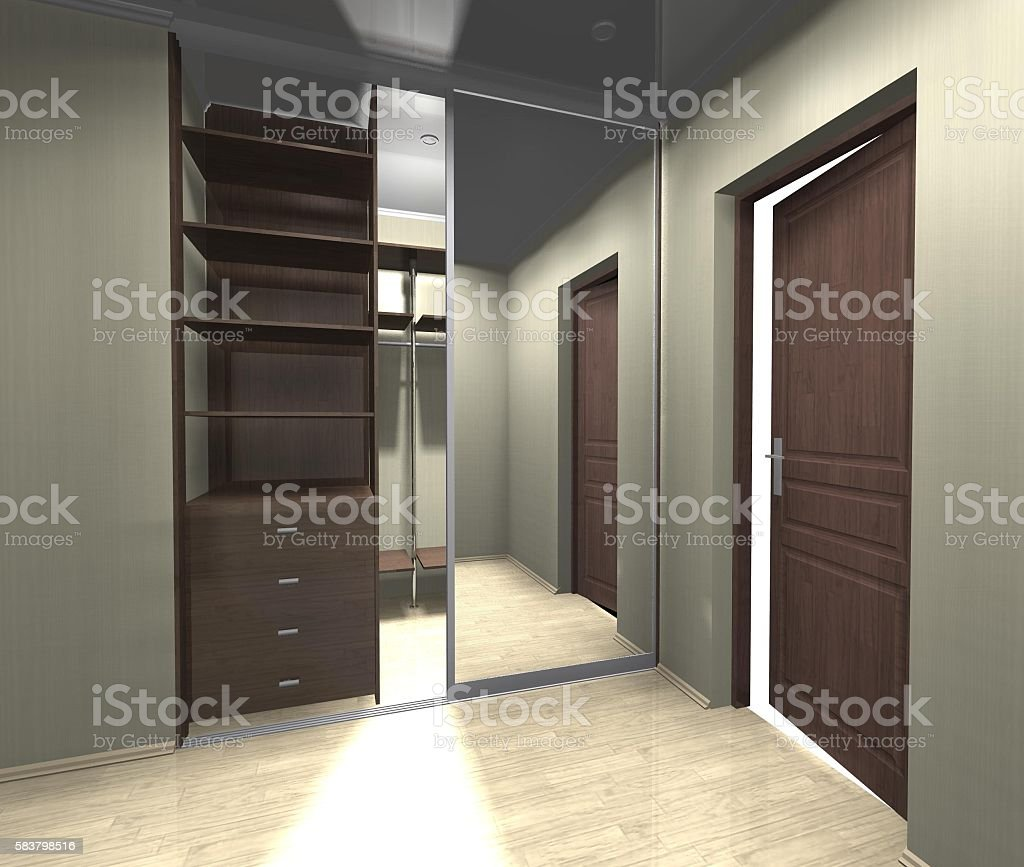 wardrobe with mirrored sliding doors 3D rendering, inner filling stock photo