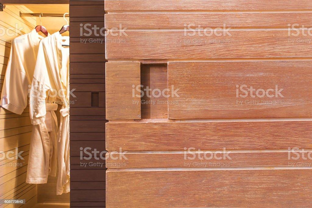 Wardrobe wooden door background stock photo